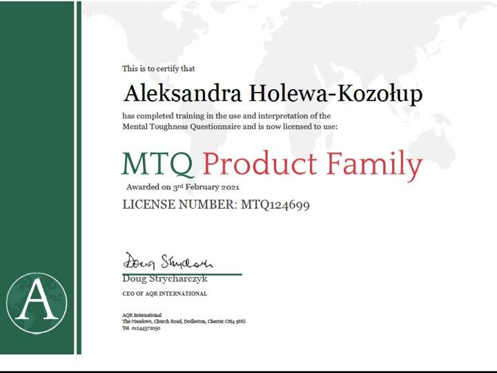 Licencta MTQ Aleksandra Holewa